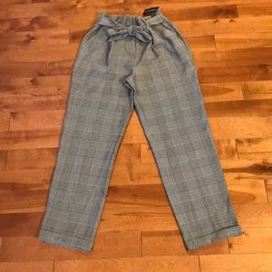 French Bazar High waisted plaid ankle pant